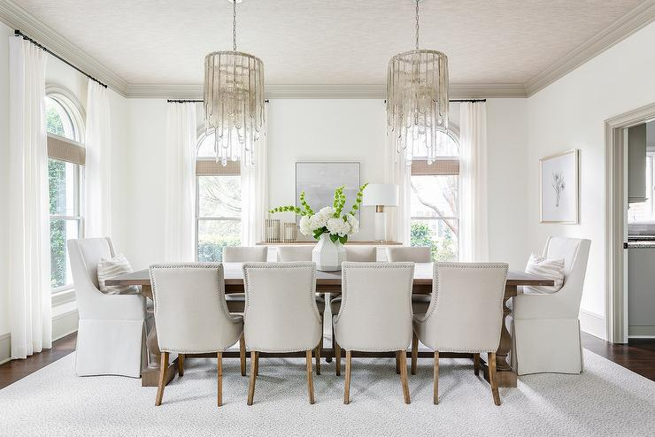 Enjoyable Gray Glass Cascading Chandeliers Over Trestle Dining Table Dailytribune Chair Design For Home Dailytribuneorg