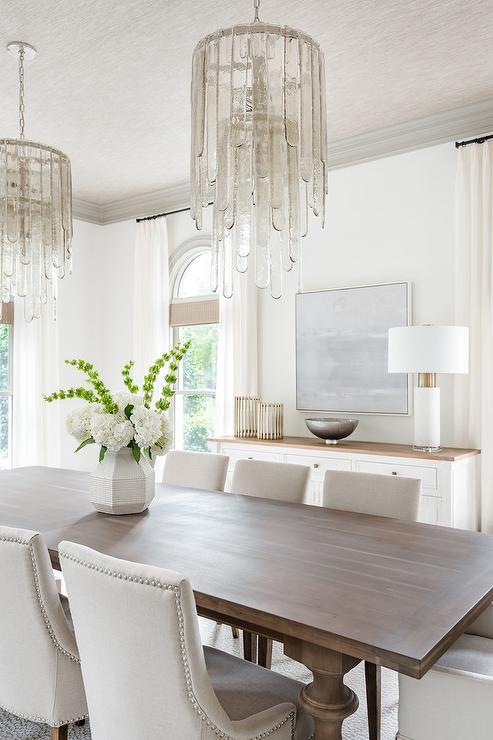 White Walls With Gray Crown Moldings, White Dining Room Walls