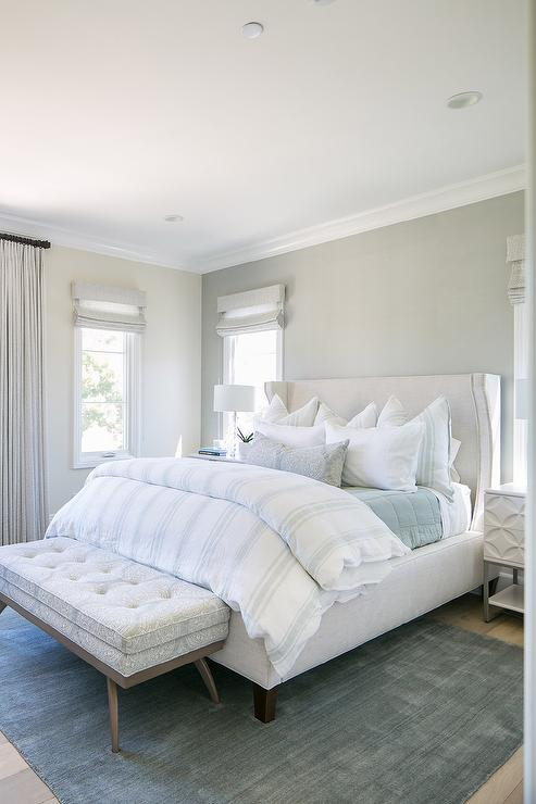 Off White Linen Bed with Layered Pillows - Transitional ...