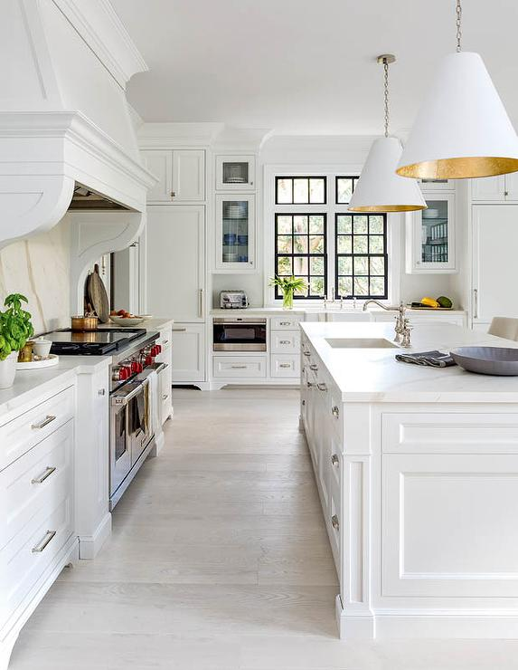 White Kitchen with Light Gray Wash Wood Floors ...