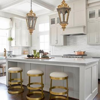 Black And Gold Vintage Bar Stools With Gray Center Island