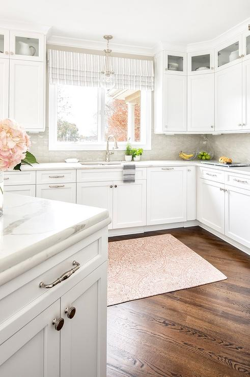 White and Gray Kitchen with Pink Medallion Rug ...