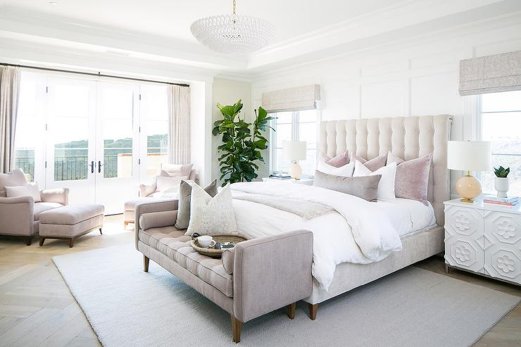 Pale Pink Velvet Tufted Bed with Pink Bench - Transitional ...