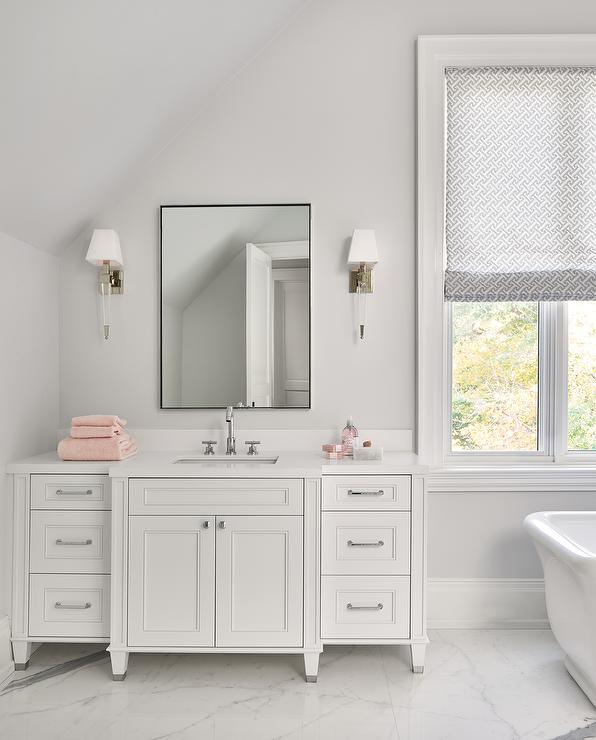Thin Black Frame Mirror With White Washstand Transitional Bathroom