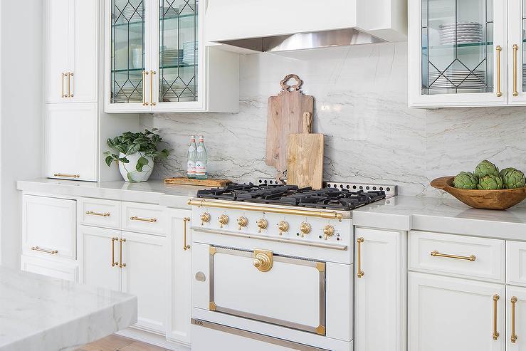 White French Stove With Gray Stone Backsplash Transitional Kitchen