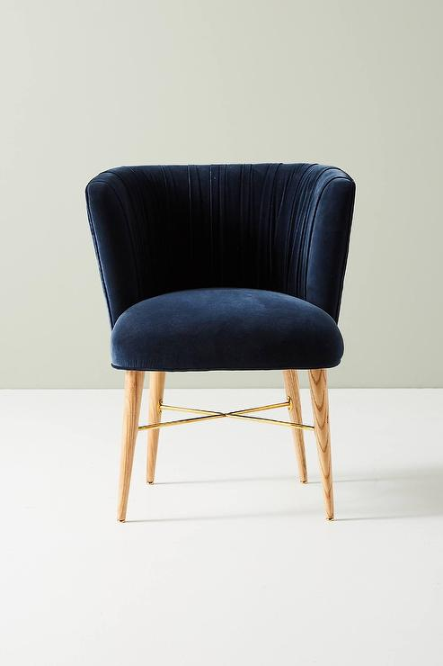 Navy And White Upholstered Dining Chair