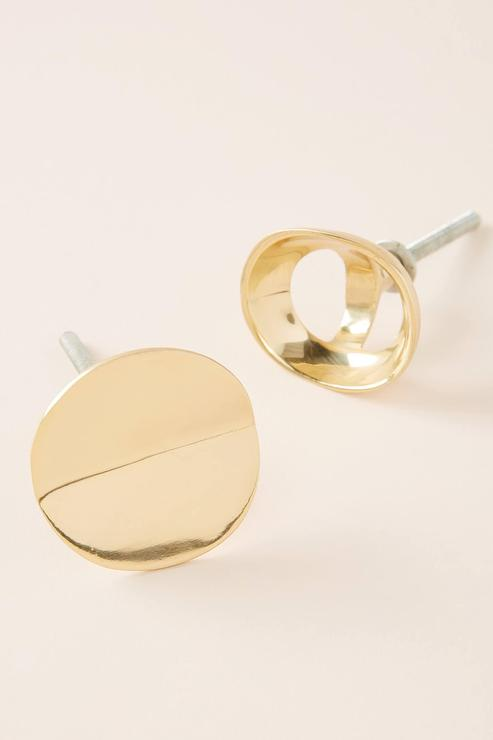 Michele Varian Round Angled Brass Knob
