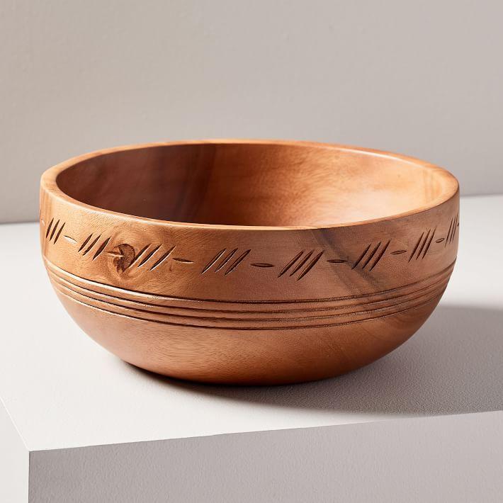 Decorative Carved Ceramic Serving Bowl