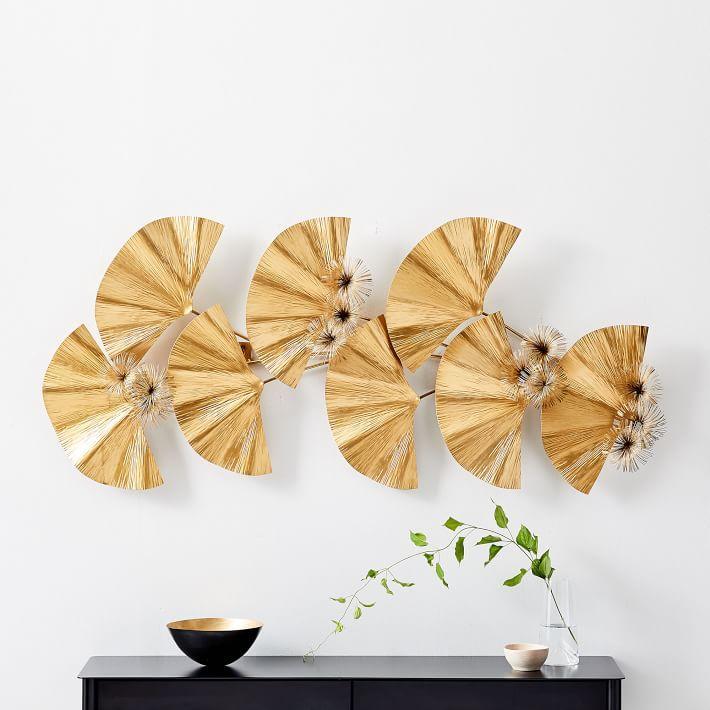 813ff1b5b4 Ginkgo Leaves Gold Metal 3D Wall Art