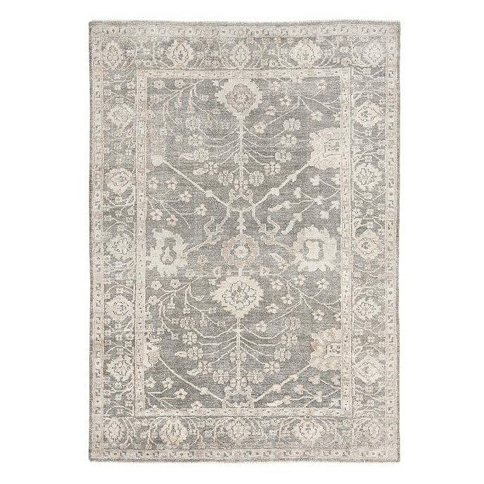 Lambert Gray Beige Floral Hand Knotted Rug
