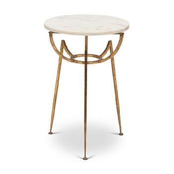 Antique Brass Pedestal Round End Table