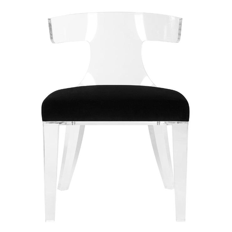 Rhys Curved Acrylic Black Velvet Dining Chair