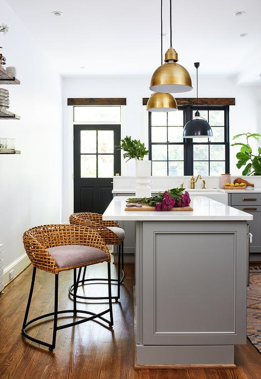 Low back Wicker Stools at Gray Kitchen Island - Transitional ...