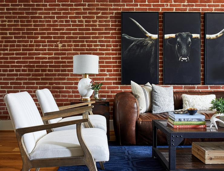 Awesome Modern Country Living Space With Red Brick Wall Country Dailytribune Chair Design For Home Dailytribuneorg