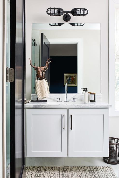 . Modern Country Bathroom Design with Kilim Rug   Country   Bathroom