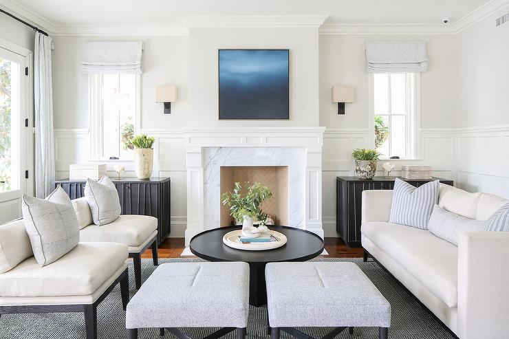 Marvelous White Sofa With Round Black Coffee Table Transitional Beatyapartments Chair Design Images Beatyapartmentscom