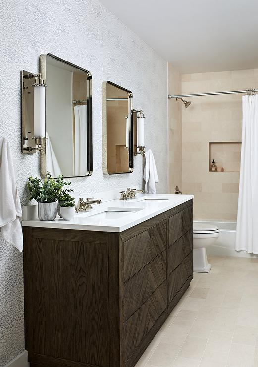 Restoration Hardware Herringbone Double Vanity Transitional Bathroom