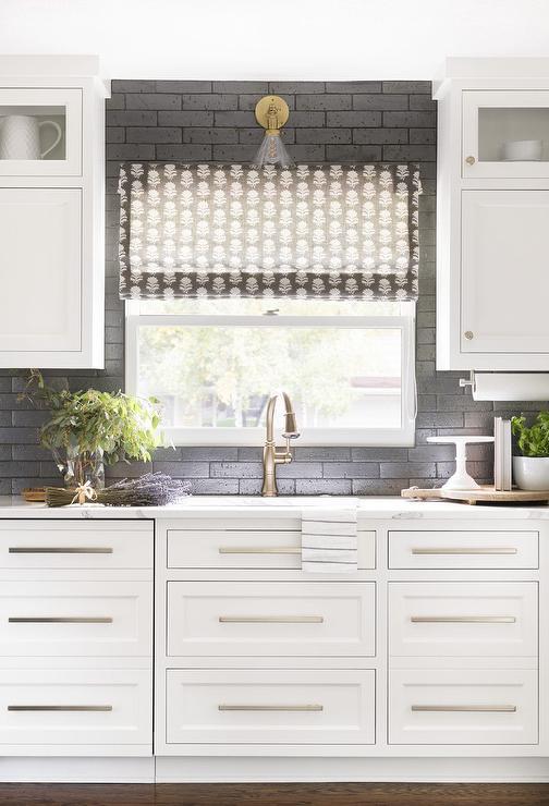 White Cabinets On Black Backsplash Transitional Kitchen