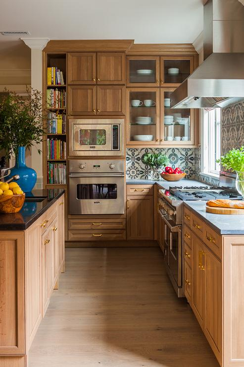 Caramel Stained Kitchen Cabinets with Concrete Countertops ...