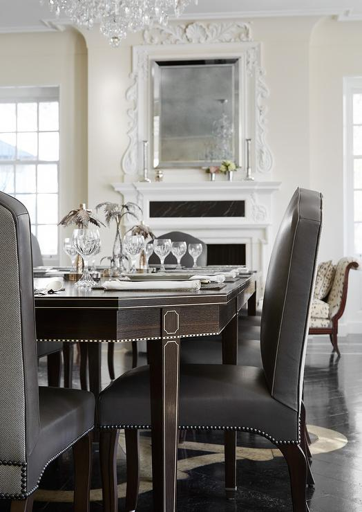 Fine Brown French Dining Table With Gray Leather And Fabric Uwap Interior Chair Design Uwaporg