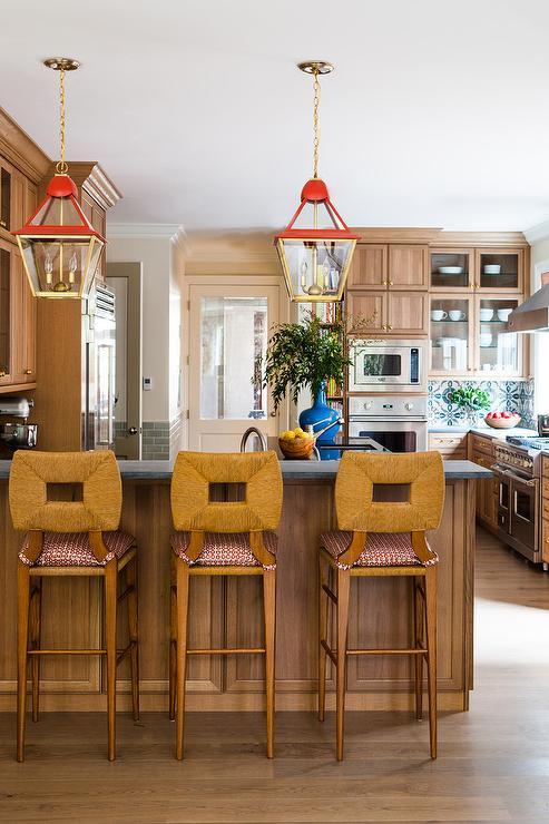 Magnificent Red And Gold Lanterns Over Concrete Breakfast Bar Machost Co Dining Chair Design Ideas Machostcouk