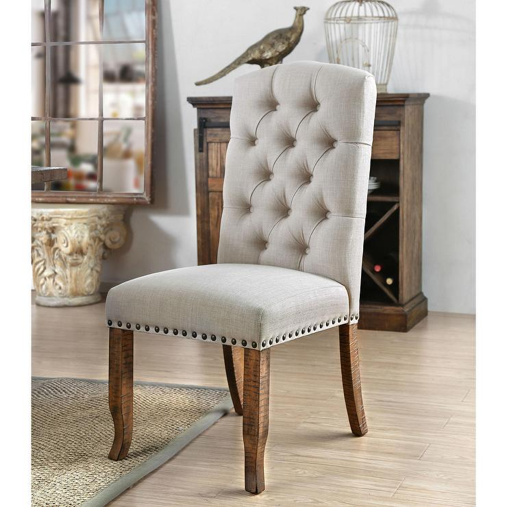 Awe Inspiring Matheson Beige Button Tufted Nailhead Dining Chair Gmtry Best Dining Table And Chair Ideas Images Gmtryco