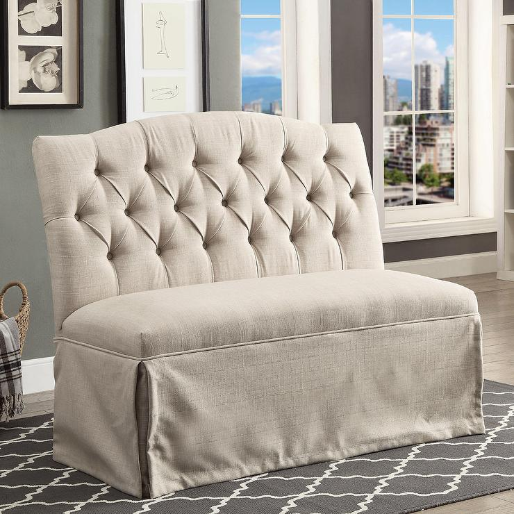 Victoria Tufted Bench Pottery Barn