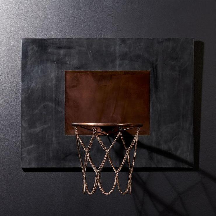 9d220d01a9 CB2 Navy Leather Copper Basketball Hoop