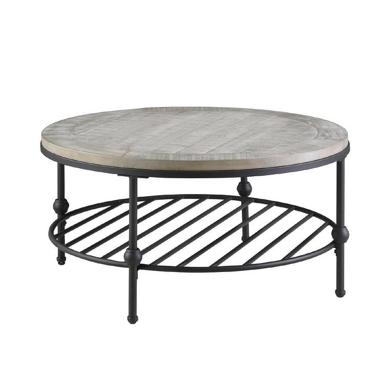 Emerald Round Wood Black Metal Coffee Table