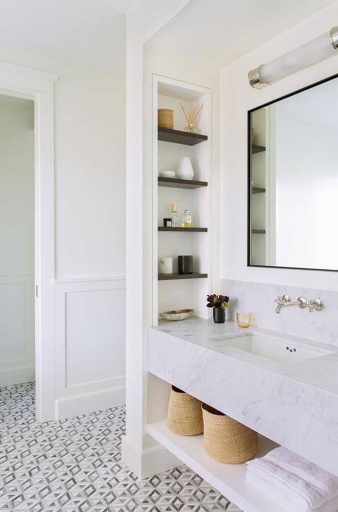 Marble Sink Vanity With Black Mirror Transitional Bathroom