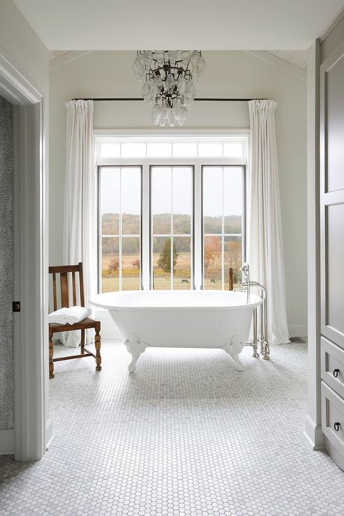 Marvelous Vintage Clawfoot Bathtub On Marble Hexagon Tiles Cjindustries Chair Design For Home Cjindustriesco