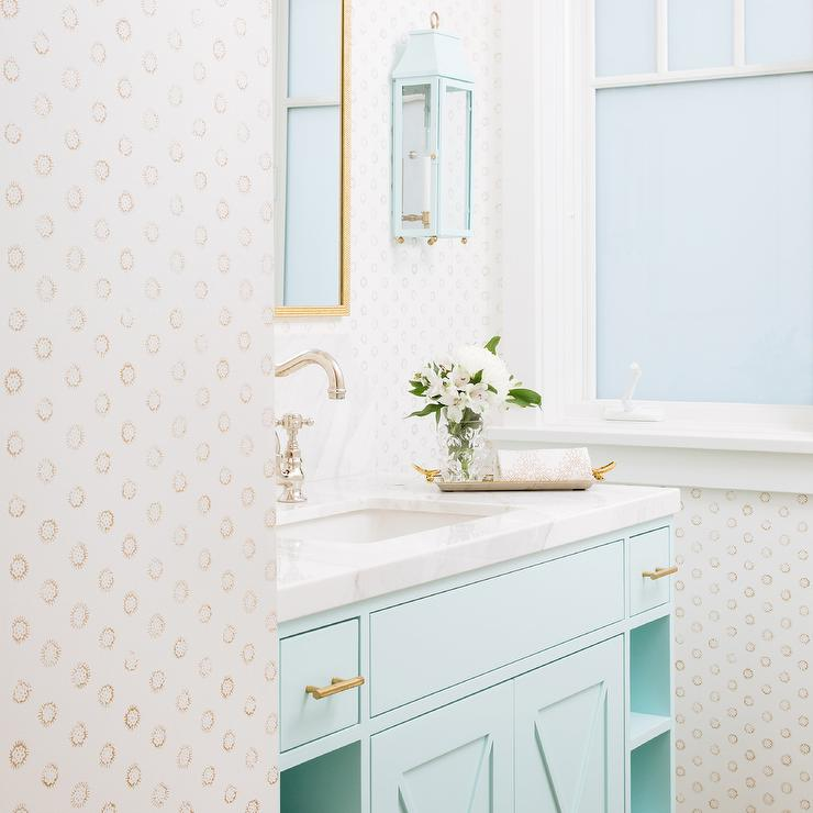 Ice Blue Washstand With Brass Pulls Cottage Bathroom