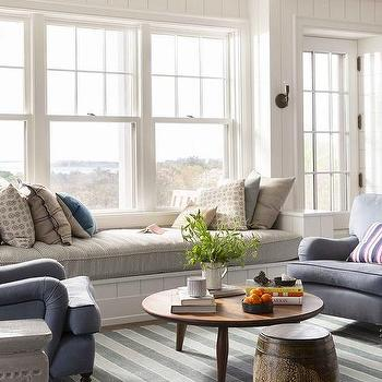cottage style furniture living room with window seat   Light Jhaki Paint Colors - Cottage - Living Room ...