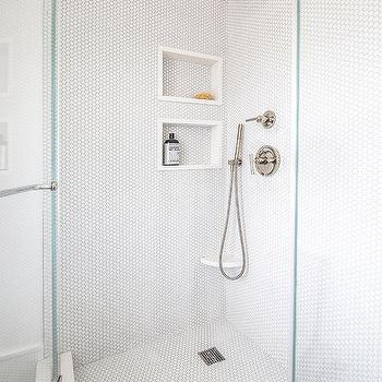 Penny Tiled Shower Niche Design Ideas
