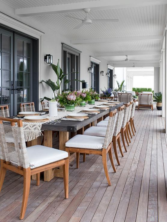 French Style Outdoor Concrete Dining Table Design Ideas