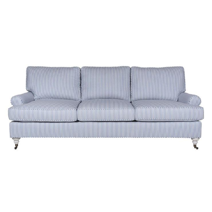 Marvelous Lauren Blue White Striped Turned Sofa Creativecarmelina Interior Chair Design Creativecarmelinacom