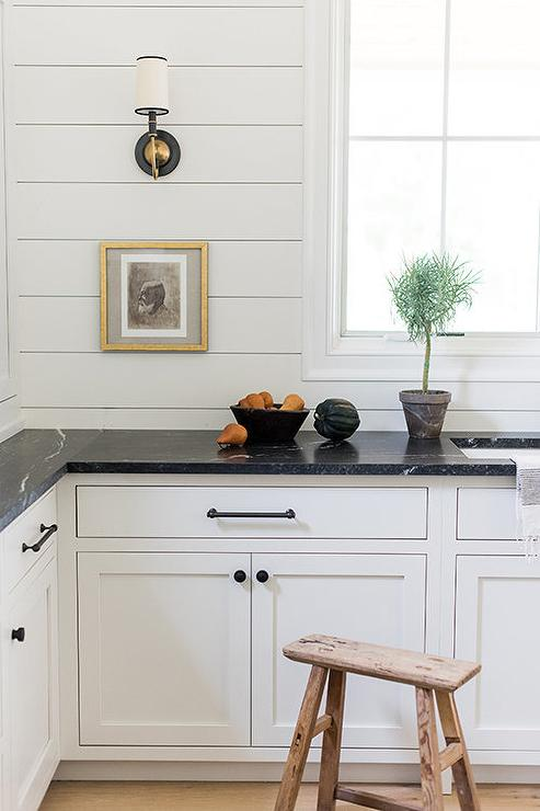 modern kitchen with shiplap backsplash