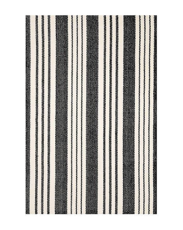 Black White Striped Indoor Outdoor Rug