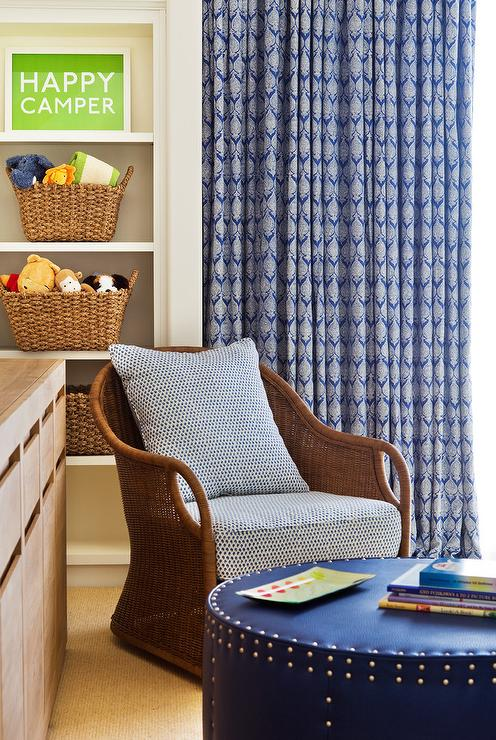 Super Wicker Chair With Round Blue Leather Nailhead Ottoman Gmtry Best Dining Table And Chair Ideas Images Gmtryco