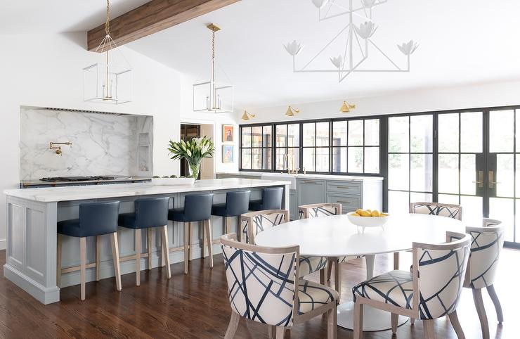 Dark Blue Leather Chairs at Long Light Gray Kitchen Island ...