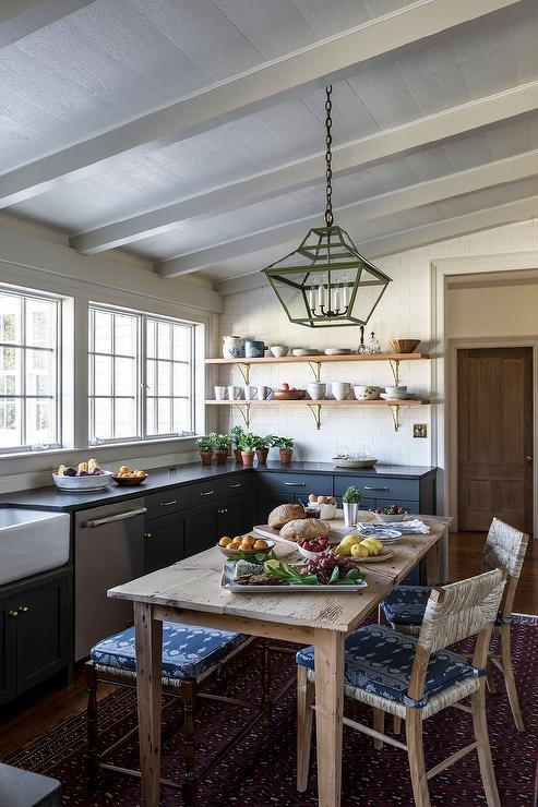 Farmhouse Eat In Kitchen with Blue