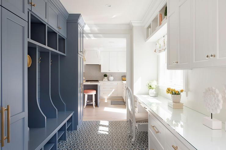 Galley Style Mudroom And Home Office Design Transitional