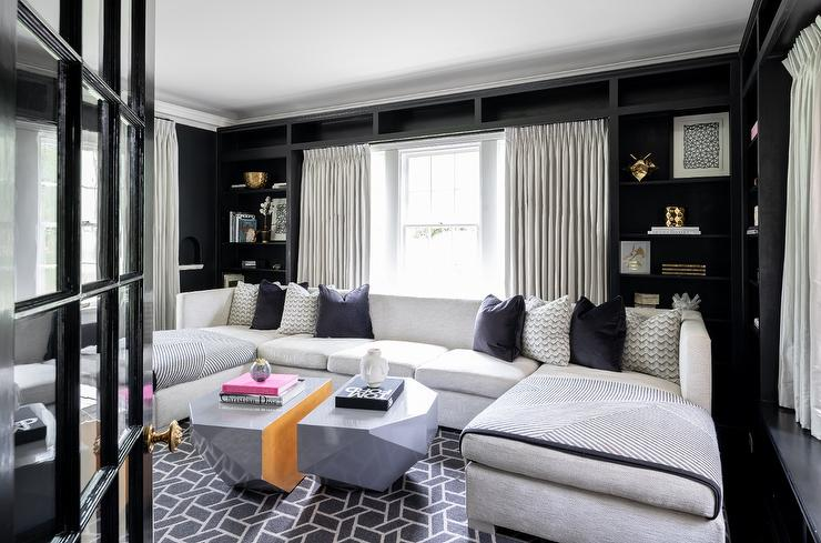 Light Gray Sectional with Black Walls - Contemporary ...
