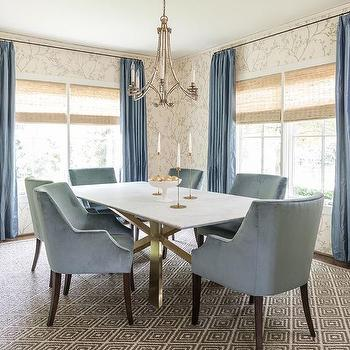Blue Velvet Dining Chairs At Gold And Marble Table