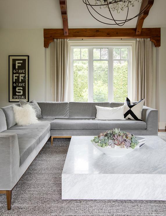 Gray Velvet Sectional with Marble Coffee Table ...