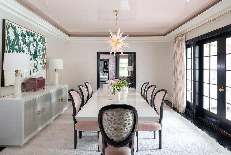 Outstanding Blush Pink And Black French Dining Chairs With White Lacquer Home Interior And Landscaping Ologienasavecom