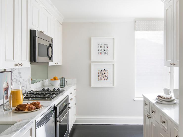 White Shaker Cabinets With Light Gray Painted Walls Transitional Kitchen