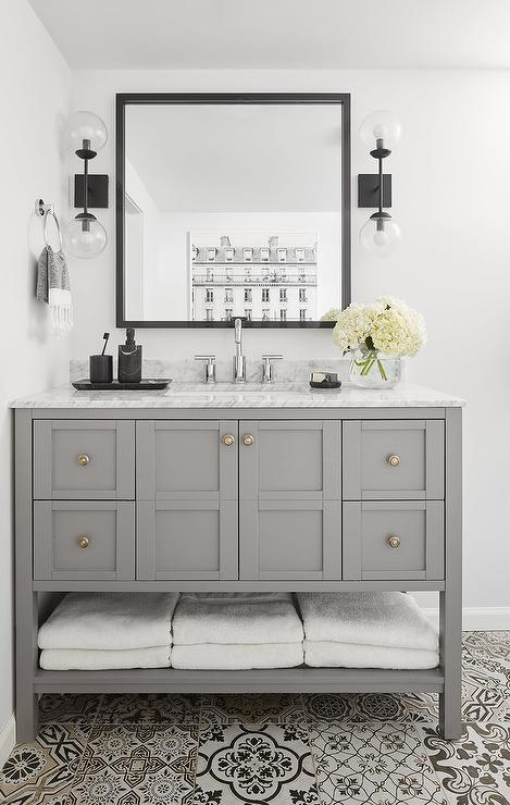 Gray Washstand With Black Square Mirror Transitional Bathroom