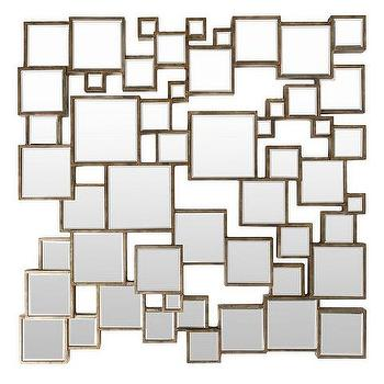 Overlapping Squares Mirror In Gold
