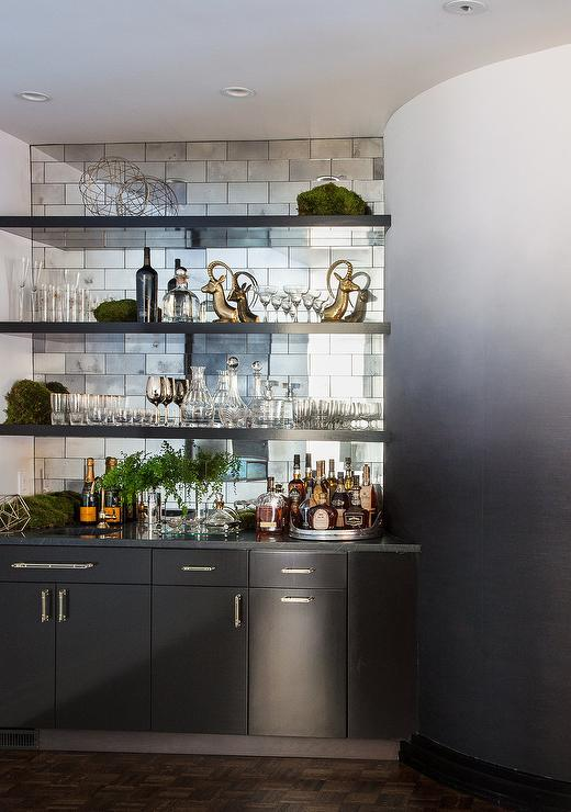 Black Mirrored Kitchen Tile Backsplash Contemporary